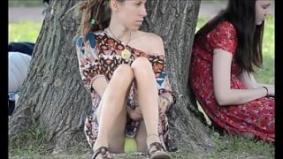 Girl shows everything in the park