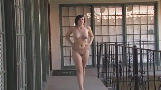 sexy brunette risky public nude caught interview