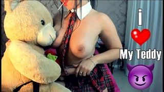 Sexy Teen College Teddy bear strapon Blowjob Fucking Teen naughty student playing with bear sucking and giving pussy