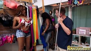 Thick ebony babe fucks in a store with the employee