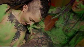 Two cute tattooed dreadgirlz getting wild while painting the room – squirting