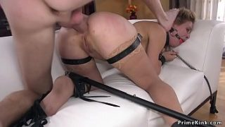 Blonde officer gets anal fucked in bdsm