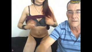 Little girl with lucky old man